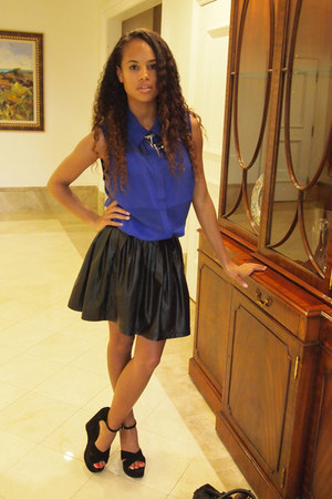 blue Forever 21 blouse - black Forever 21 skirt - black Steve Madden wedges