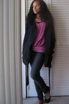 black Forever 21 coat - dark gray Forever 21 jeans - bubble gum Charlotte Russe