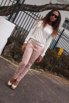 off white Forever 21 sweater - light pink Seductions pants