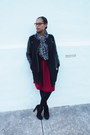 Black-romwe-coat-heather-gray-express-scarf-ruby-red-sheinside-skirt