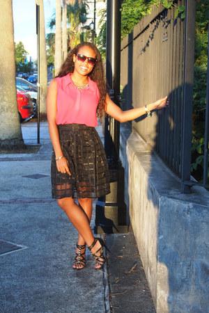 black romwe skirt - hot pink H&M blouse - black Guess heels