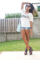 aquamarine H&M bag - blue Forever 21 shorts - gray BCBGeneration wedges