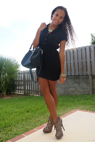 black dress - black Mango bag - lime green H&M necklace