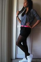 black Forever 21 tights - black shorts - blue Forever 21 top - hot pink belt - w