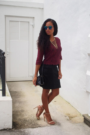 maroon H&M top - black H&M skirt - nude Steve Madden sandals