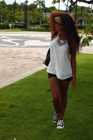 black Express shorts - white Forever 21 blouse - black Converse sneakers