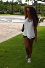 Black-express-shorts-white-forever-21-blouse-black-converse-sneakers