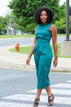 dark green jumpsuit Sheinside jumper