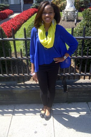 yellow scarf - black leggings - navy material girl blouse - black flats