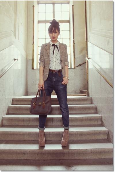 H&M blazer - Jeffrey Campbell boots - Zara panties