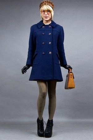 navy wool 60s tractordog vintage coat - faux fur tractordog vintage hat
