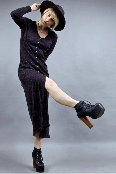 black Jeffrey Campbell shoes - dark gray knit maxi tractordog dress