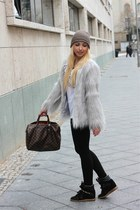 silver Ebay coat - beige Zara hat - dark brown Louis Vuitton bag