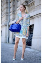 blue Zara bag - white Zara shoes - Zara dress