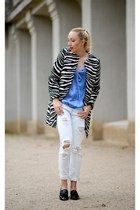 Zara coat - Zara jeans - black Zara loafers - blue Zara top