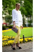 light yellow Zara pants - periwinkle Aldo bag - black Zara sandals