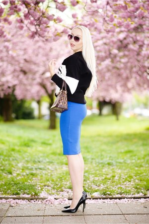 black new look sweater - blue new look skirt