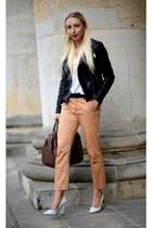 white Zara wedges - dark brown Louis Vuitton bag