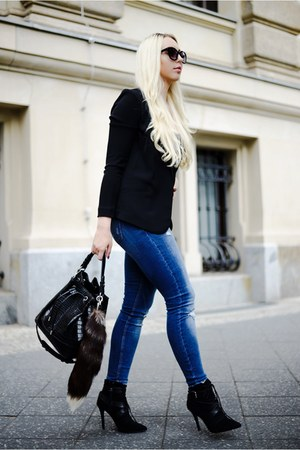 black Zara shoes - navy Zara jeans - black H&M blazer