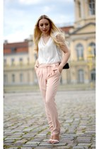 black Zara bag - white Zara heels - ivory Zara top - light pink Mango pants