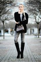 Louis Vuitton bag - H&M cardigan
