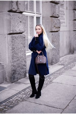 navy collar shein coat