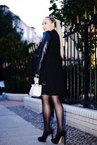 black Zara coat - Zara dress - black Buffalo pumps