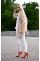 white Zara shirt - beige Ebay blazer - beige Mango bag