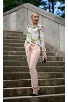Zara blouse - black Zara bag - light pink Mango pants