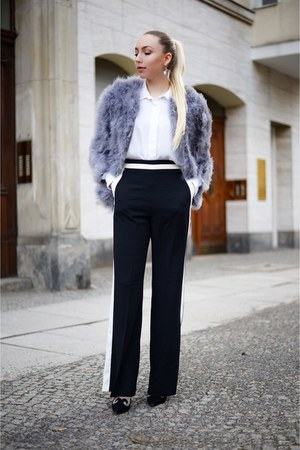 light purple feather Topshop jacket - black wide leg Zara pants