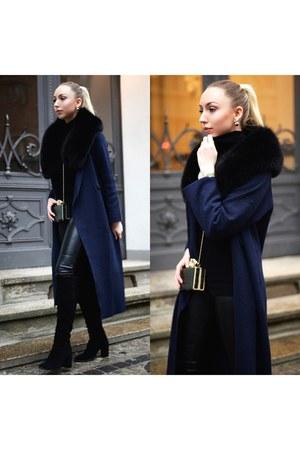 navy long coat Zara coat - black leather pants H&M pants