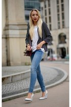 black asos blazer - light blue H&M jeans - Zara bag - white H&M t-shirt