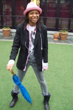 Candies boots - WESC hat - Target blazer - Urban Outfitters shirt - mika t-shirt