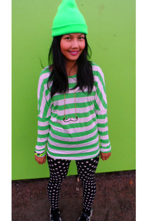 green no name hat - Converse shoes - polka dots TOSE leggings