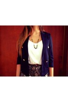 navy blazer - white Zara blouse - gold necklace - navy flower skirt