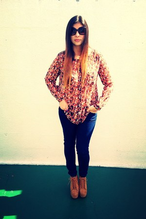light orange boots - navy jeans - tawny blouse