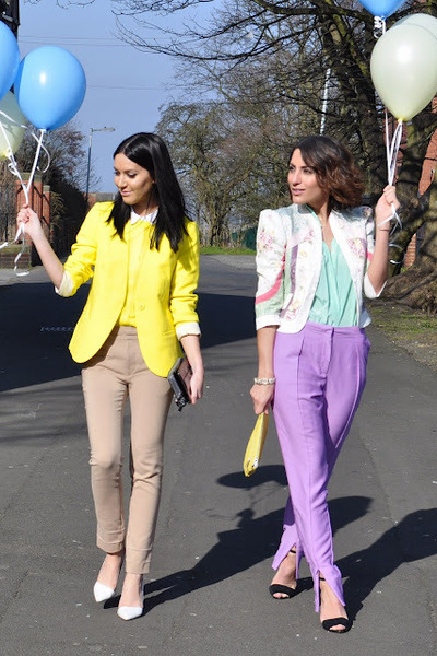 camel Zara pants - light purple H&M Trend pants - vintage jacket