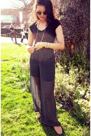 black pants - bronze shoes