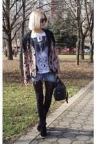 black Zara bag - Metro boots - Terranova shorts - black Aldo sunglasses
