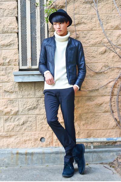 black black vintage hat - black black leather vintage jacket