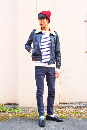 dark gray Cheap Monday jeans - dark gray april 77 jacket - white H&M jumper