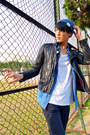 Beanie-rageblue-hat-biker-jacket-april-77-jacket-blue-vintage-shirt