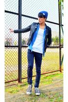 beanie Rageblue hat - biker jacket april 77 jacket - blue vintage shirt