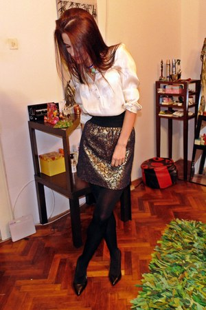 silk H&M shirt - leather Bershka heels - handmade skirt