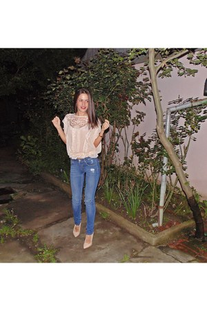pull&bear jeans - poema pumps - Atmosphere blouse
