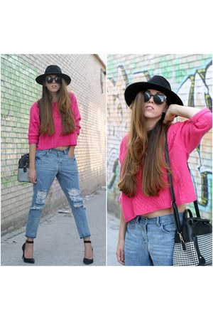 Front Row Shop jeans - H&M hat - OASAP sweater