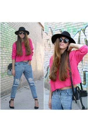 Front Row Shop jeans - H&M hat - OASAP sweater
