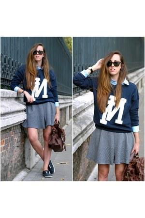 HyM sweatshirt - Bershka skirt - Deichmann sneakers