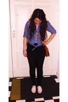 H&M blouse - H&M t-shirt - pieces leggings - H&M shoes - vintage accessories