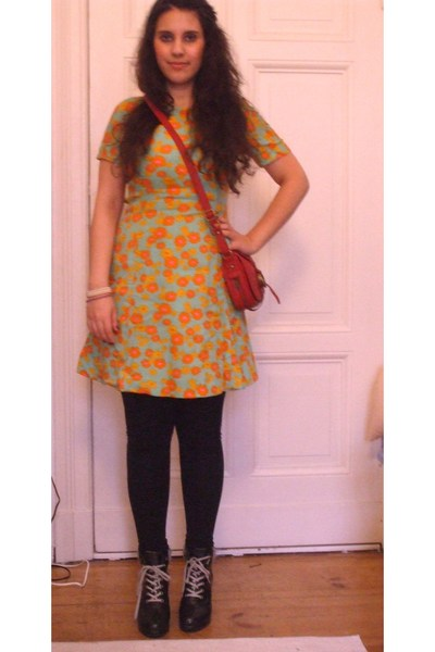 vintage dress - Zara accessories - H&M shoes - pieces leggings
